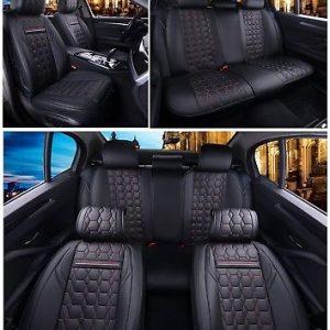 GREY-BLACK 5X FABRIC SEAT COVERS SET FOR VAUXHALL SINTRA LANCIA ZETA PHEDRA