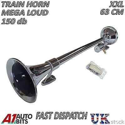 flexzon 12V Single Trumpet Air Horn Chrome Compressor Super Loud 150db for Truck Lorry Boat Train