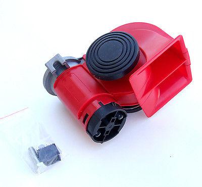flexzon Twin Dual Tone Compact Air Loud Horn 24V Compressor Red Truck Car Bus Van
