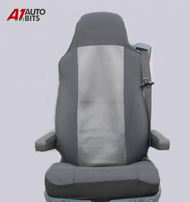 2//PAIR BLACK TAILORED SEAT COVERS FOR MERCEDES TRUCKS ACTROS AXOR ATEGO .LHD//RHD
