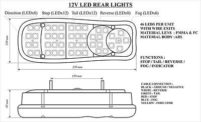LED REAR TAIL LIGHTS LAMP PAIR 12V 5 FUNCTION TRAILER CARAVAN TRUCK LORRY 46 LED