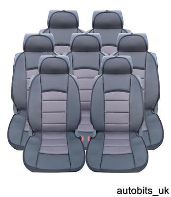 FULL SET 7X GREY PREMIUM COMFORT PADDED SEAT COVERS FOR 7 SEATER MAZDA 5 CX9
